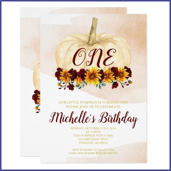 Pumpkin First Birthday Girl Invitations
