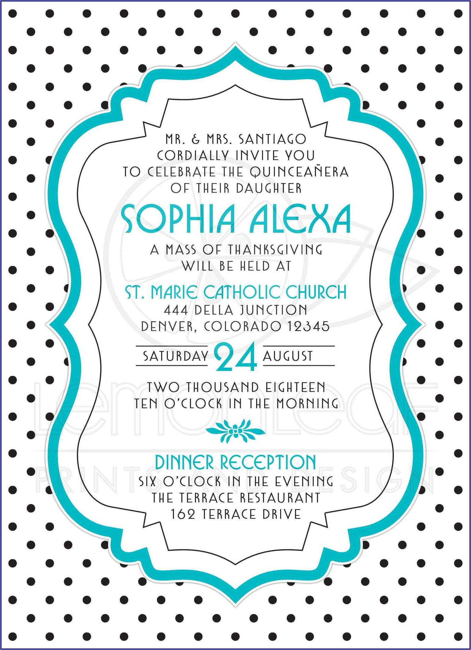 Quince Invitation Wording In English