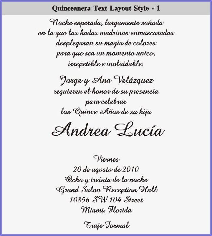 Quinceanera Invitation Wording Examples