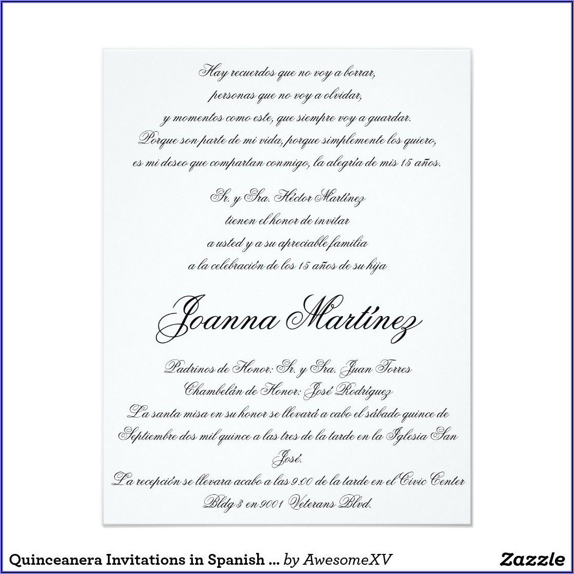 Quinceanera Invitation Wording Samples In Spanish