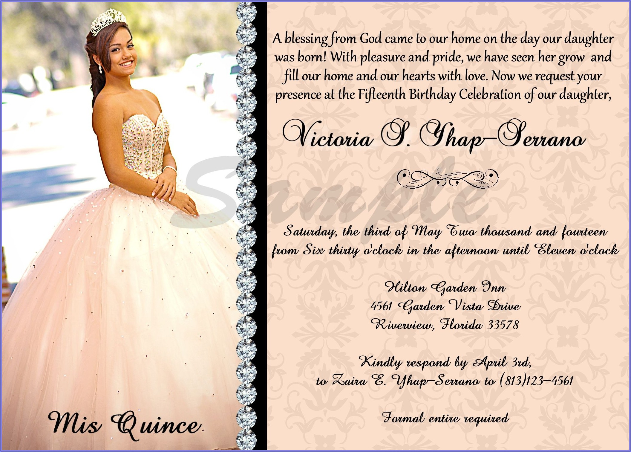 Quinceanera Invitations Wording Samples In English