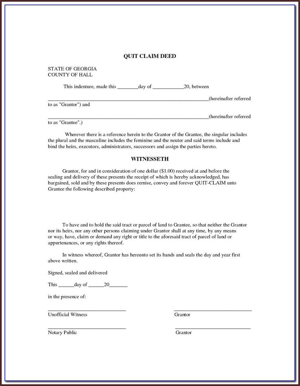 Quitclaim Deed Form California Orange County