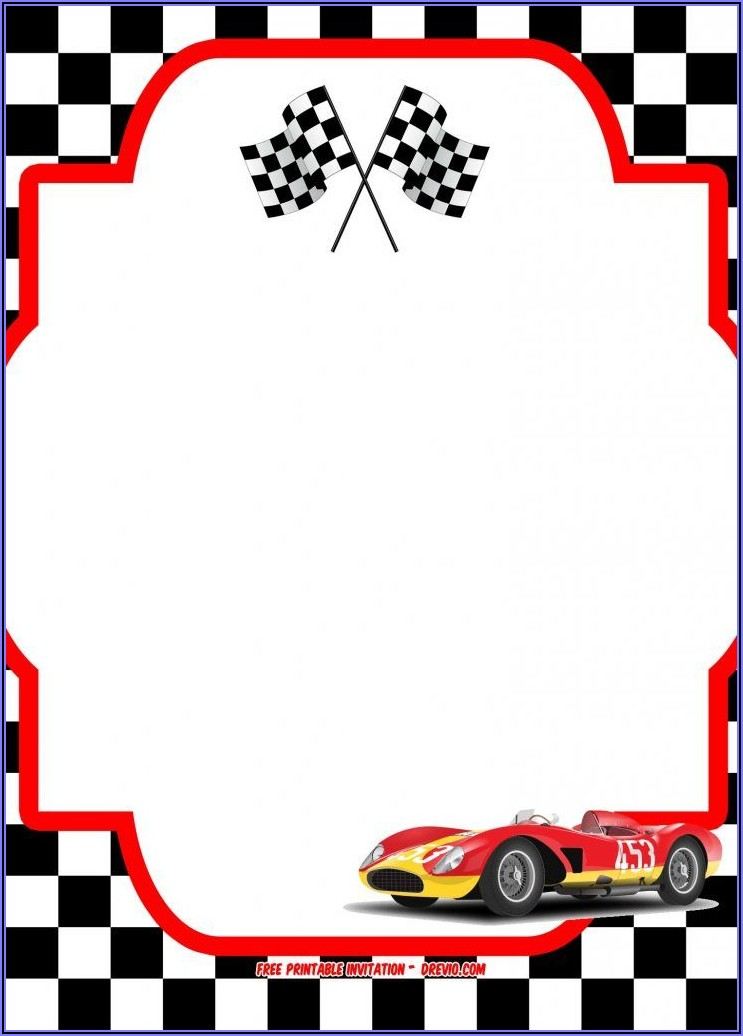 Race Car Invitation Template Free