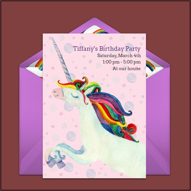 Rainbow Unicorn Birthday Invitations Free