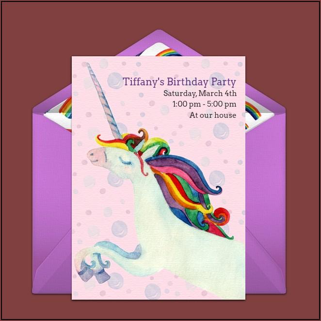 Rainbow Unicorn Birthday Invitations Free