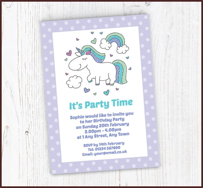 Rainbow Unicorn Invitations Free