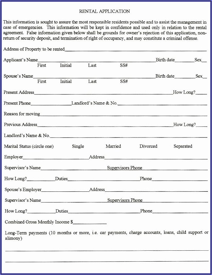 Real Estate Rental Application Form Template
