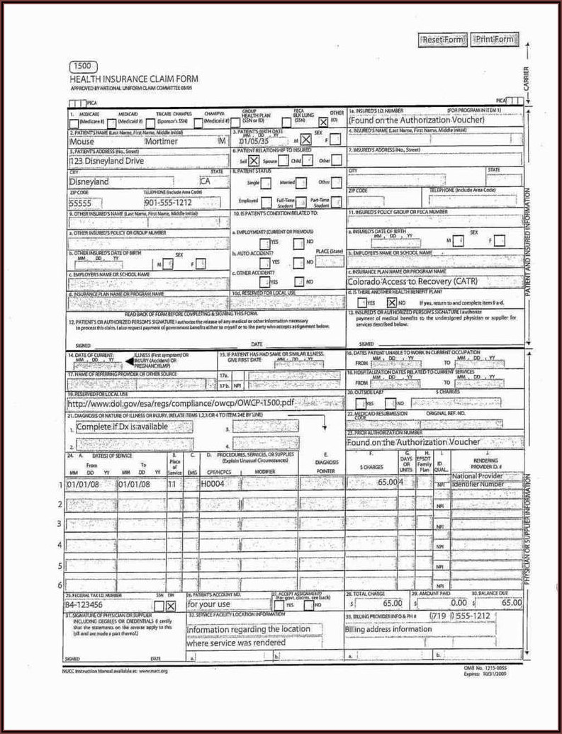 Red Cms 1500 Claim Form Pdf