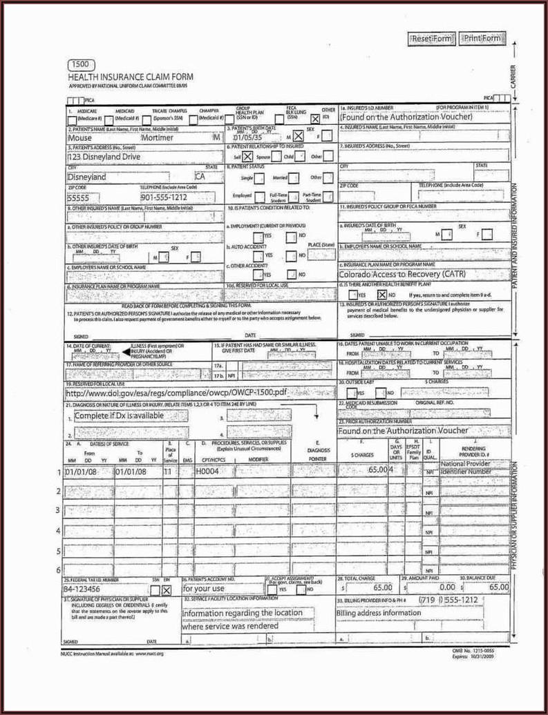 Red Cms 1500 Claim Form Pdf