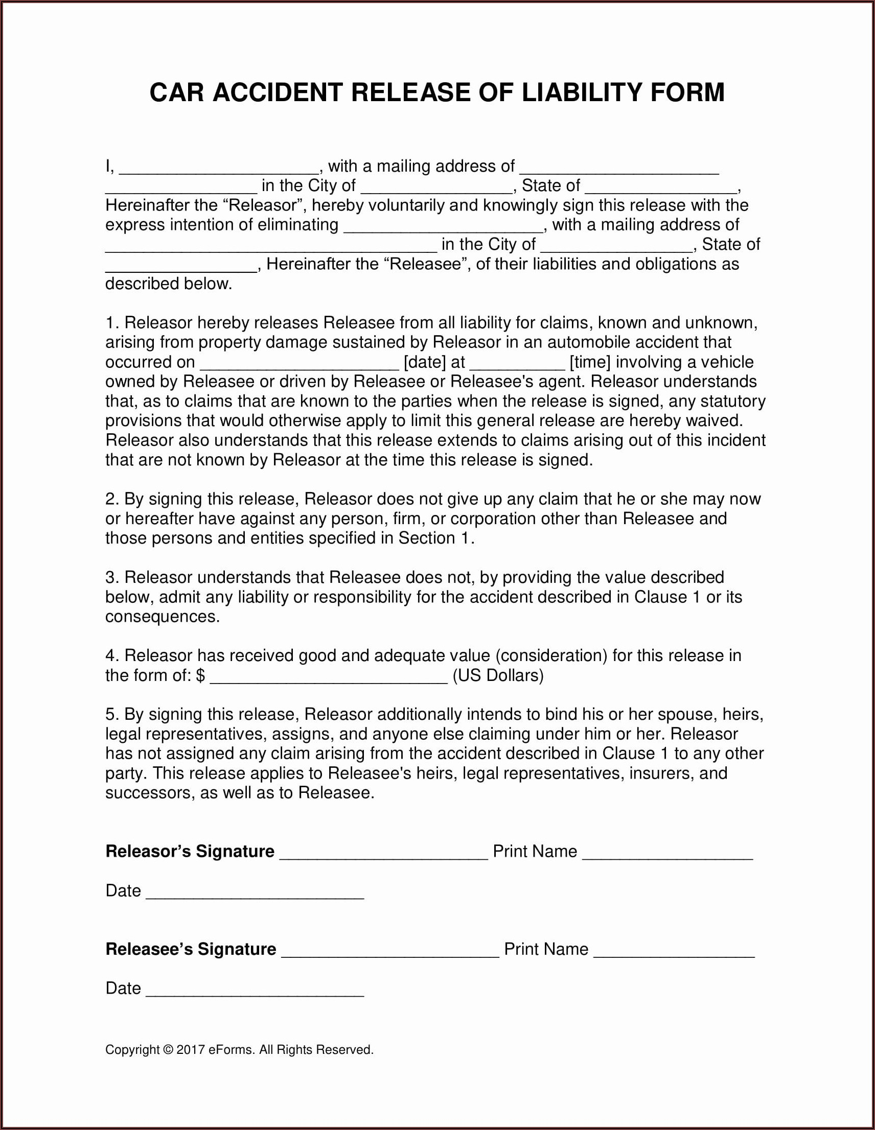 Release Of Liability Auto Accident Form Free