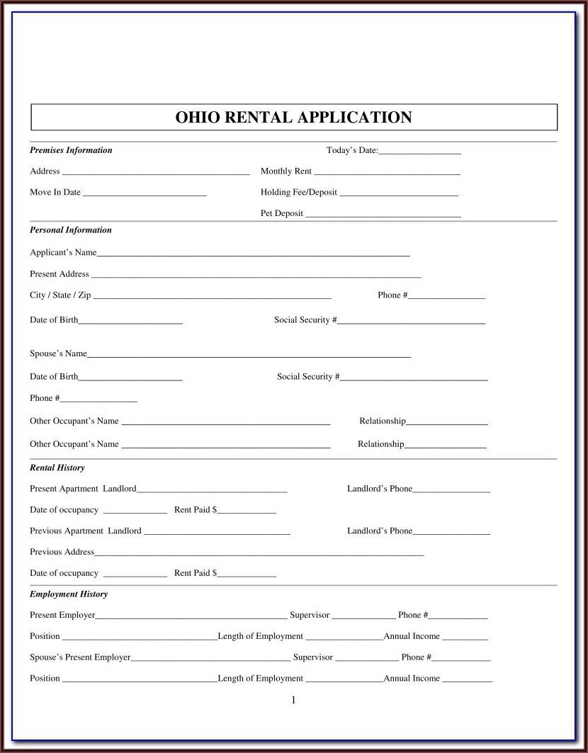 Rental Application Form Pdf Fillable