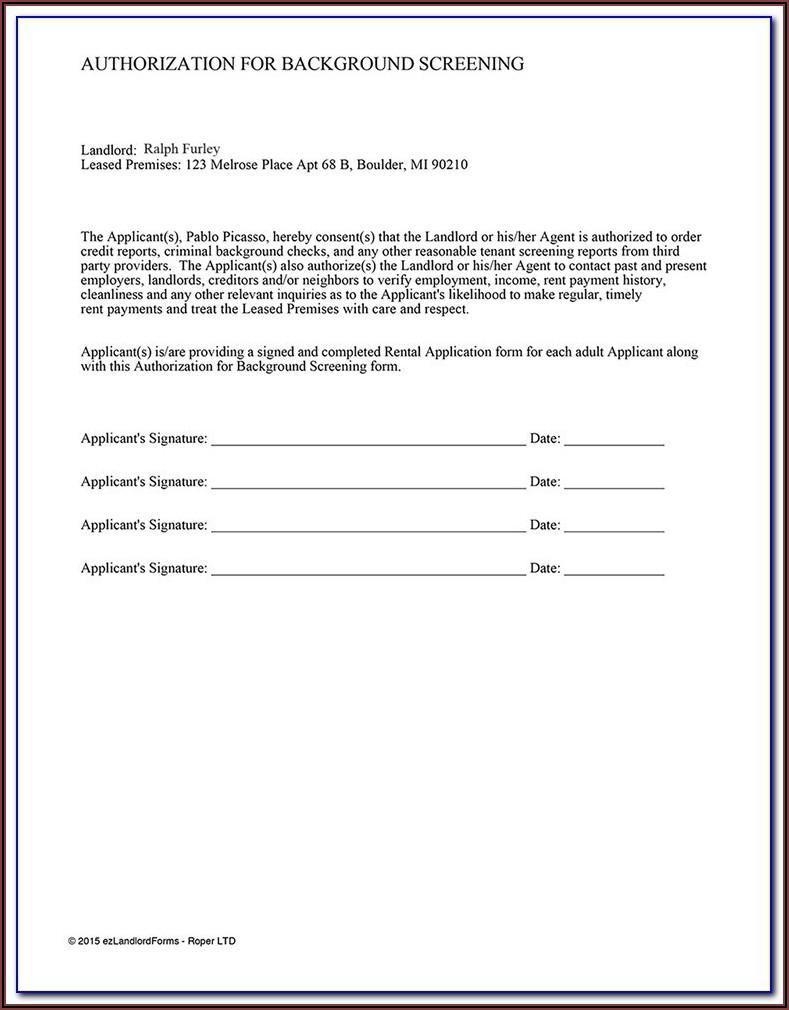 Rental Credit Check Form