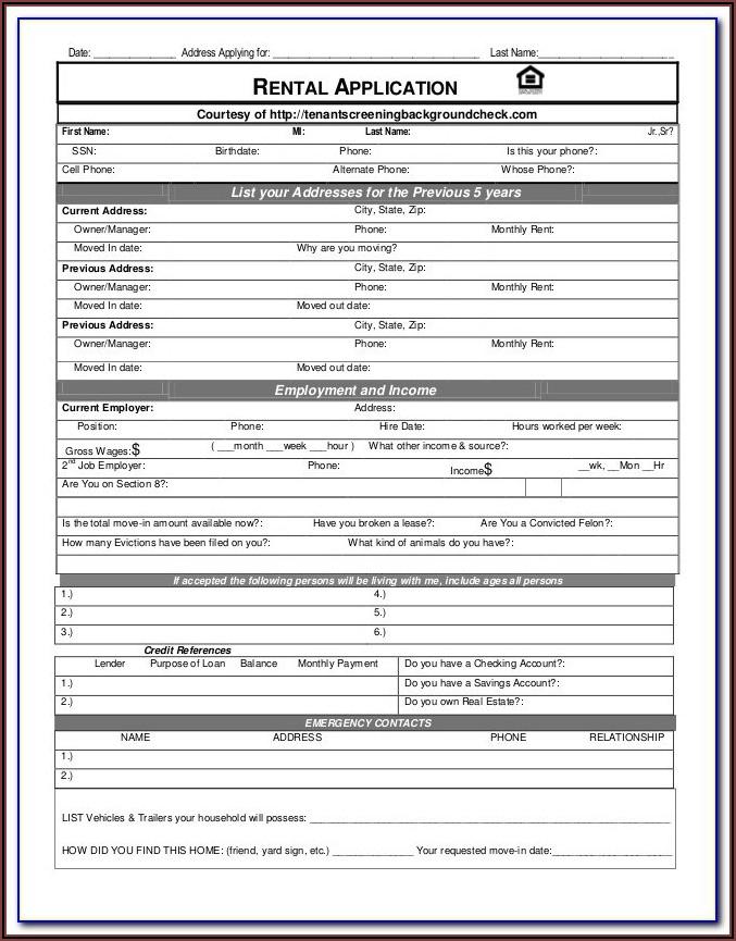 Renter Background Check Form