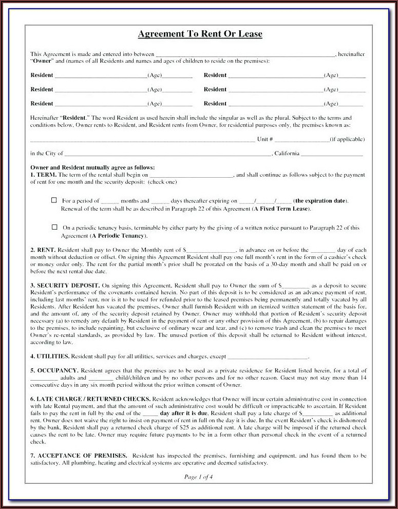 Residential Lease Rental Agreement Form Ohio