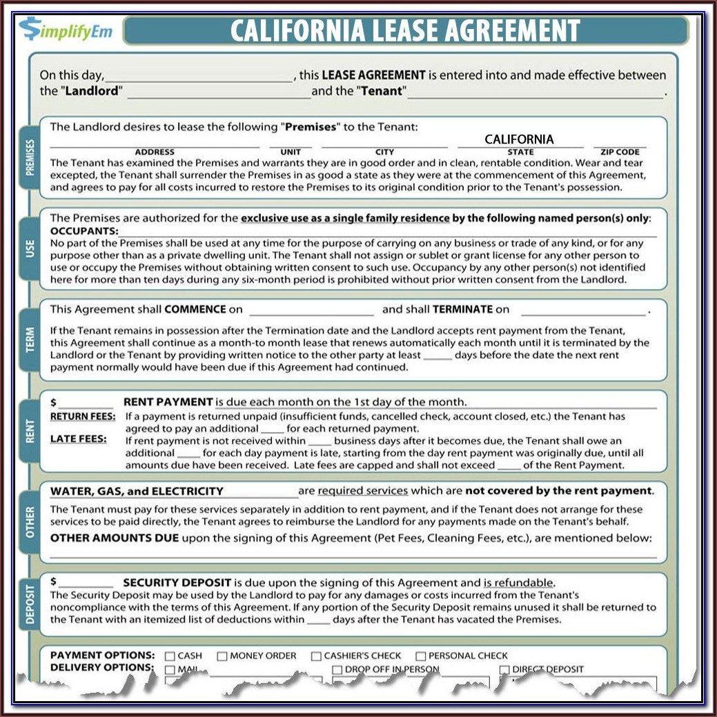 Residential Leaserental Agreement Form California