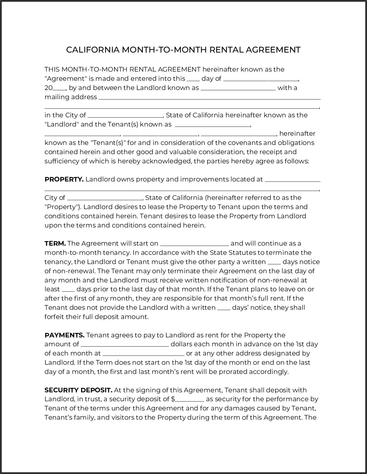 Residential Leaserental Agreement State Of California