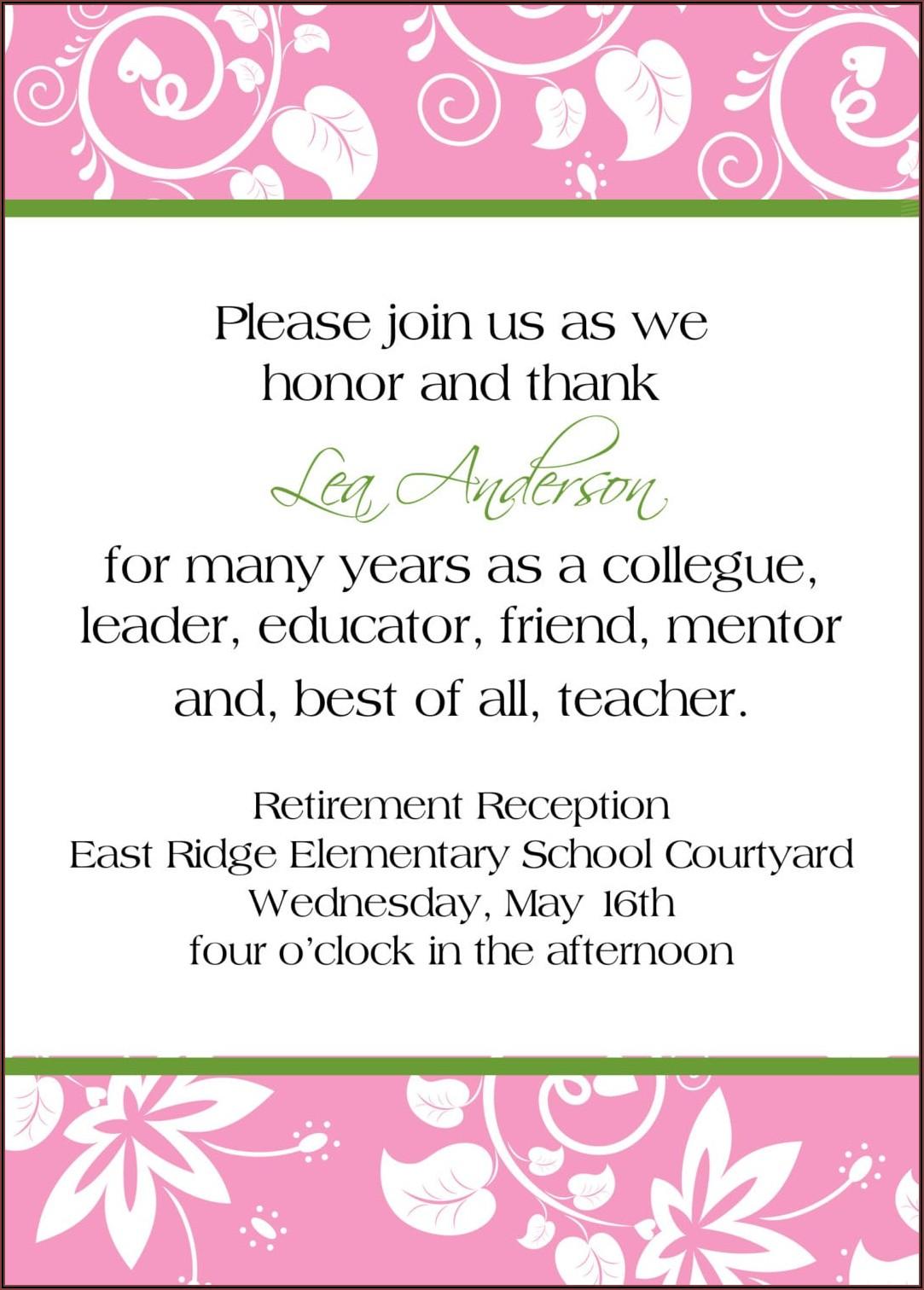Retirement Invitation Wording For Teachers