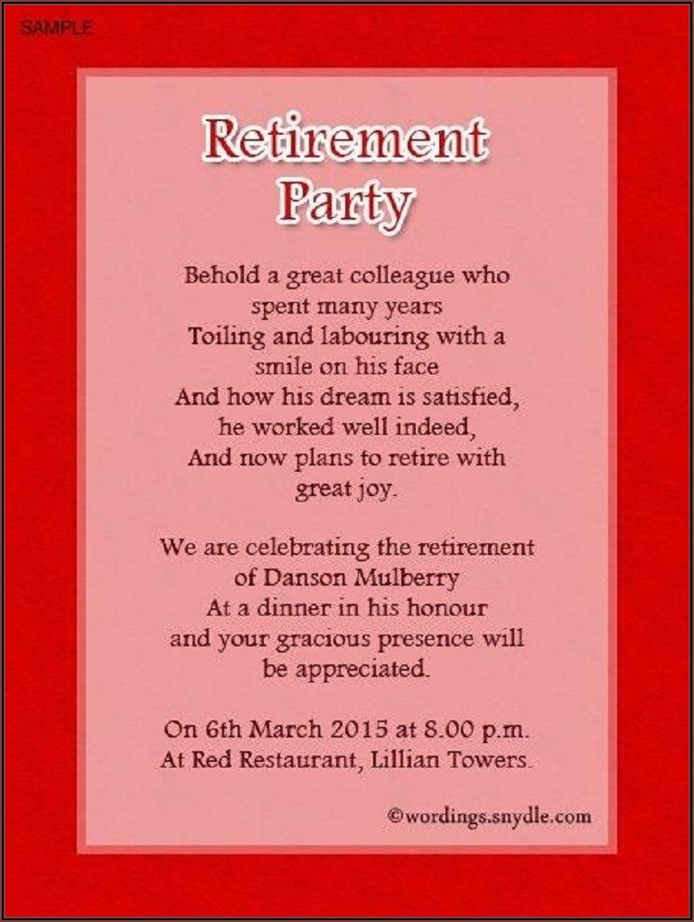 Retirement Party Invitation Wording For Coworker