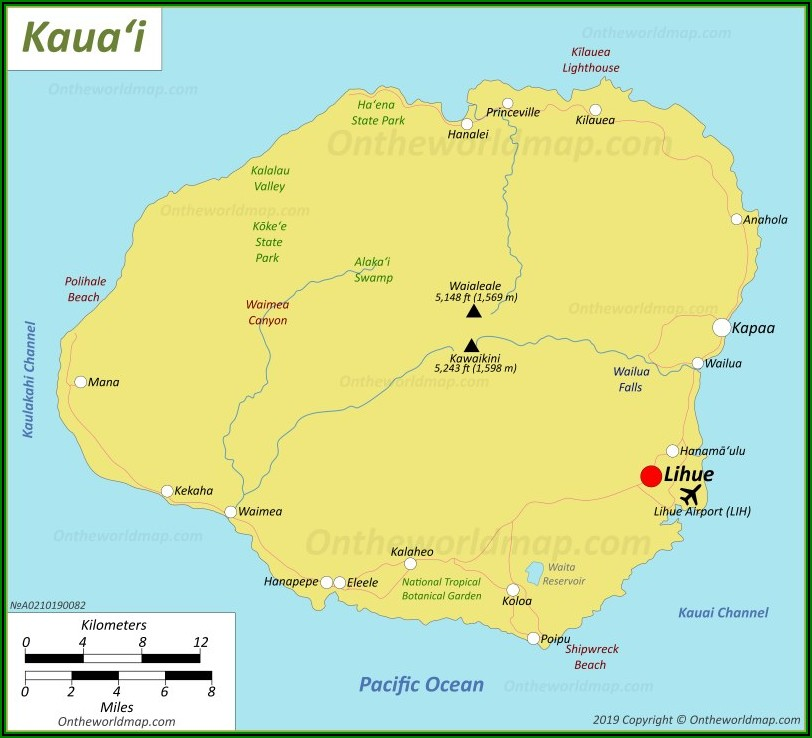 Road Map Of Kauai Hi