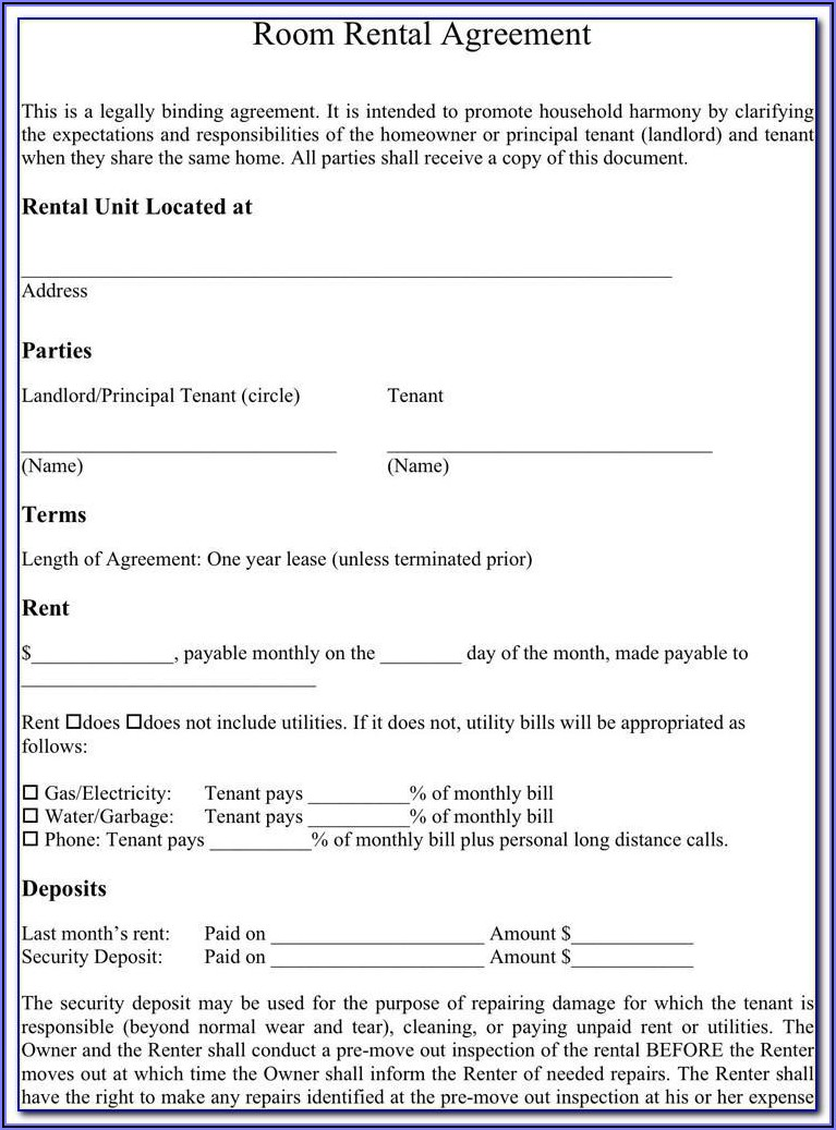 Room Rental Lease Agreement Form