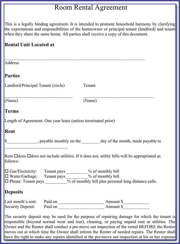 Room Rental Lease Agreement Form