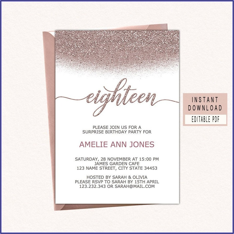 Rose Gold 18th Birthday Invitations
