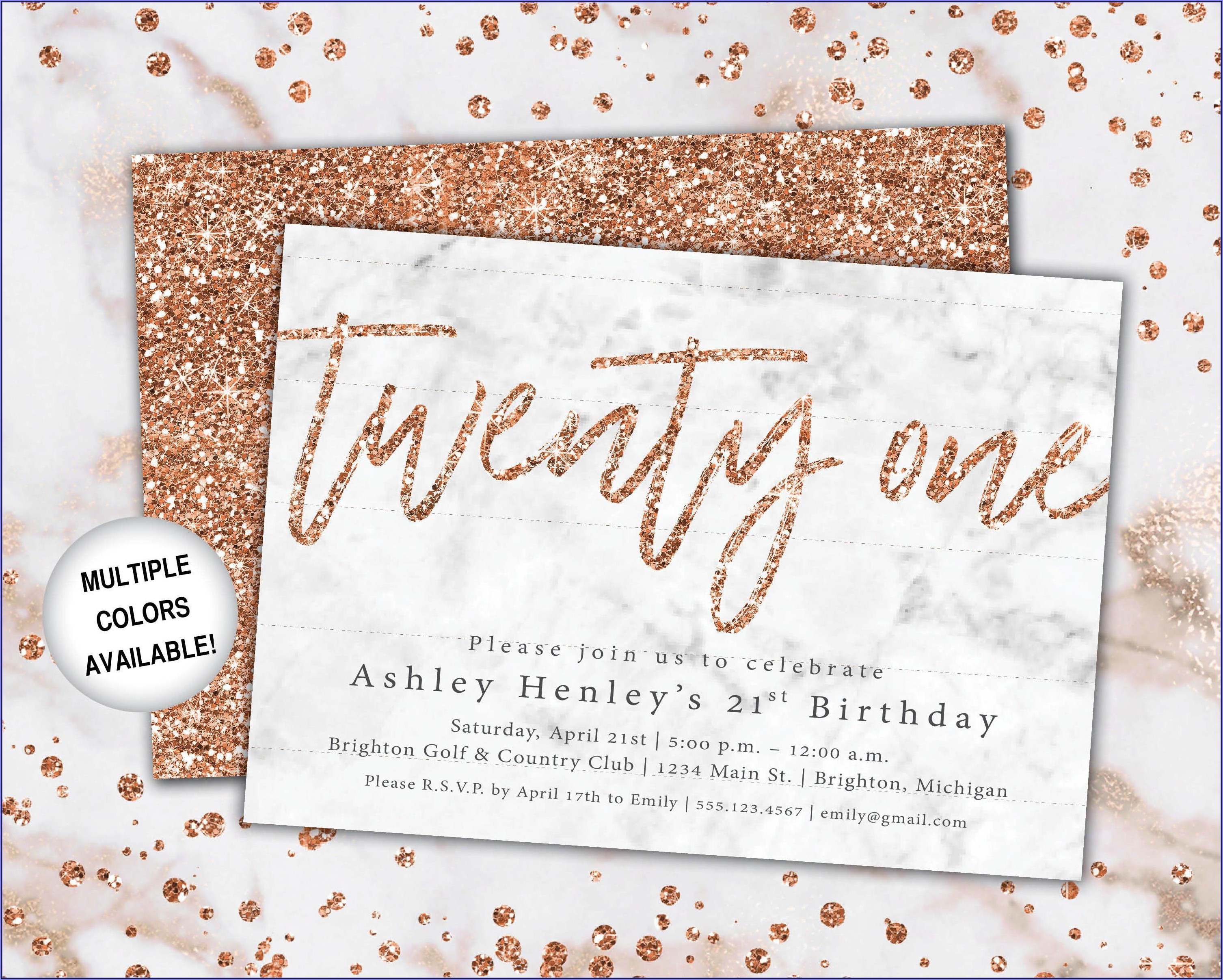 Rose Gold 21st Birthday Invitations