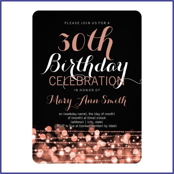 Rose Gold 30th Birthday Invitations