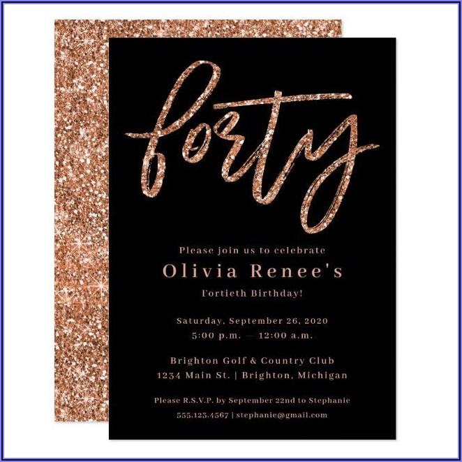 Rose Gold 40th Birthday Invitations