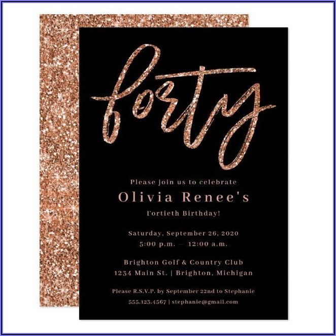 Rose Gold 40th Birthday Invitations