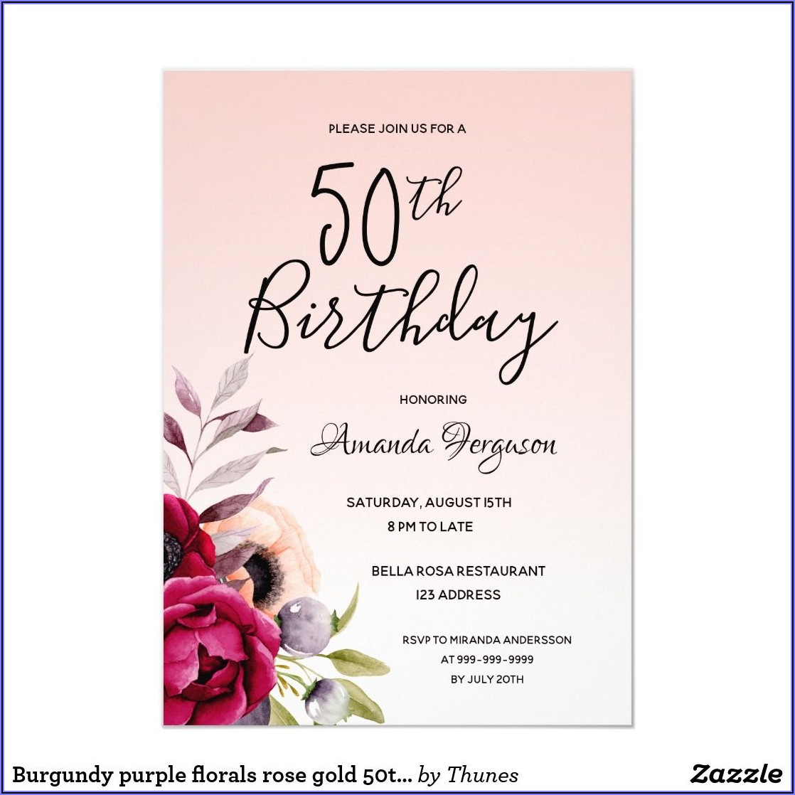 Rose Gold 50th Birthday Invitations