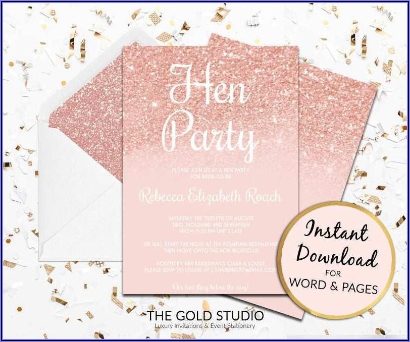 Rose Gold Birthday Invitation Template Free
