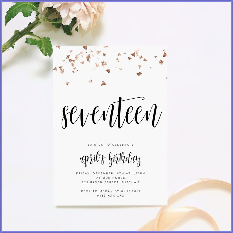 Rose Gold Birthday Invitations Online