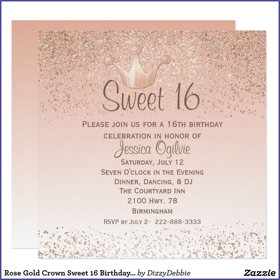 Rose Gold Invitations Sweet 16
