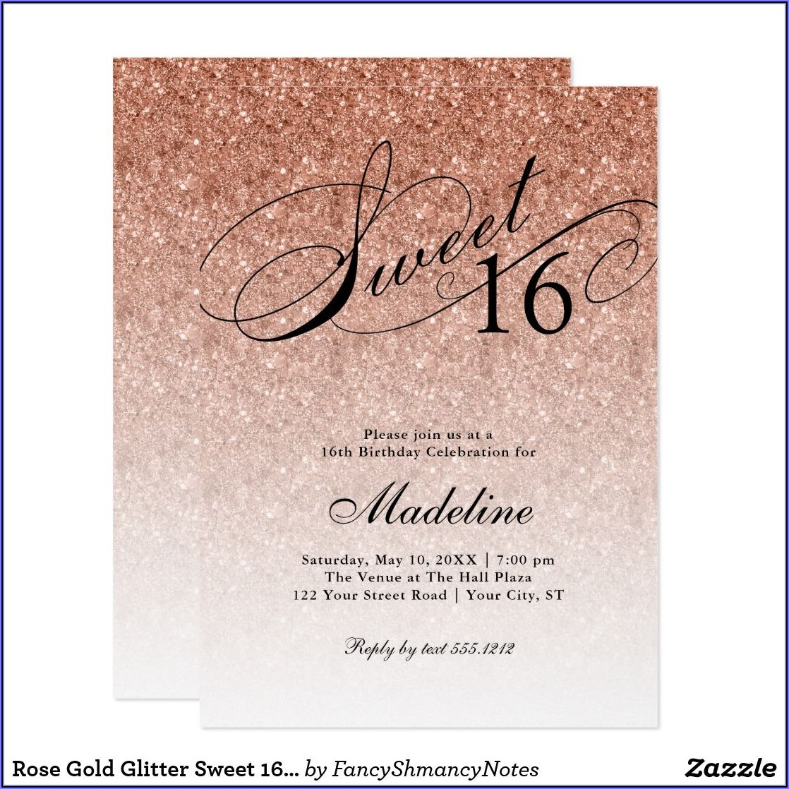Rose Gold Sweet 16 Birthday Invitations