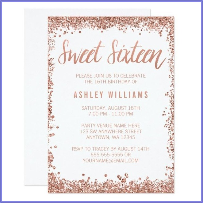 Rose Gold Sweet 16 Party Invitations