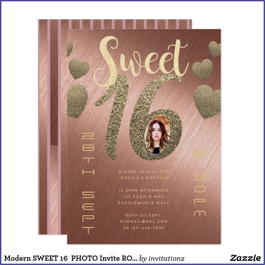 Rose Gold Sweet 16 Photo Invitations