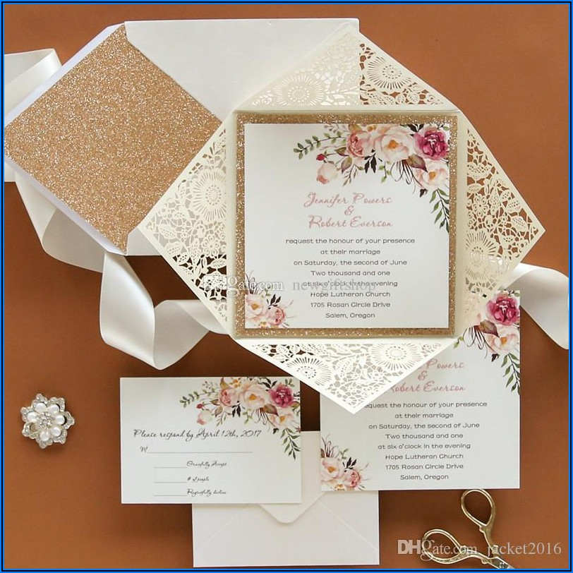 Rose Gold Wedding Invitations Kits