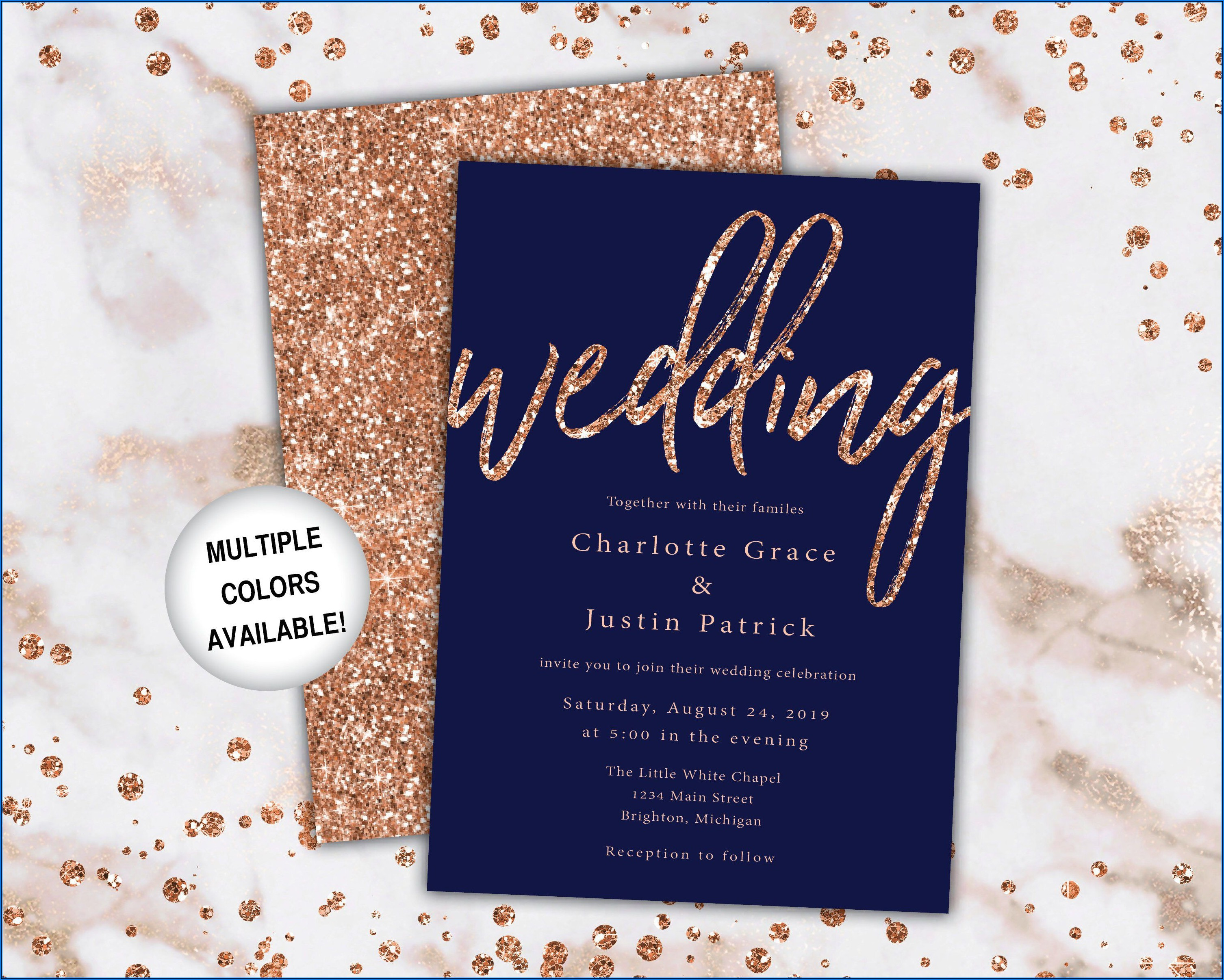 Rose Gold Wedding Invitations Template