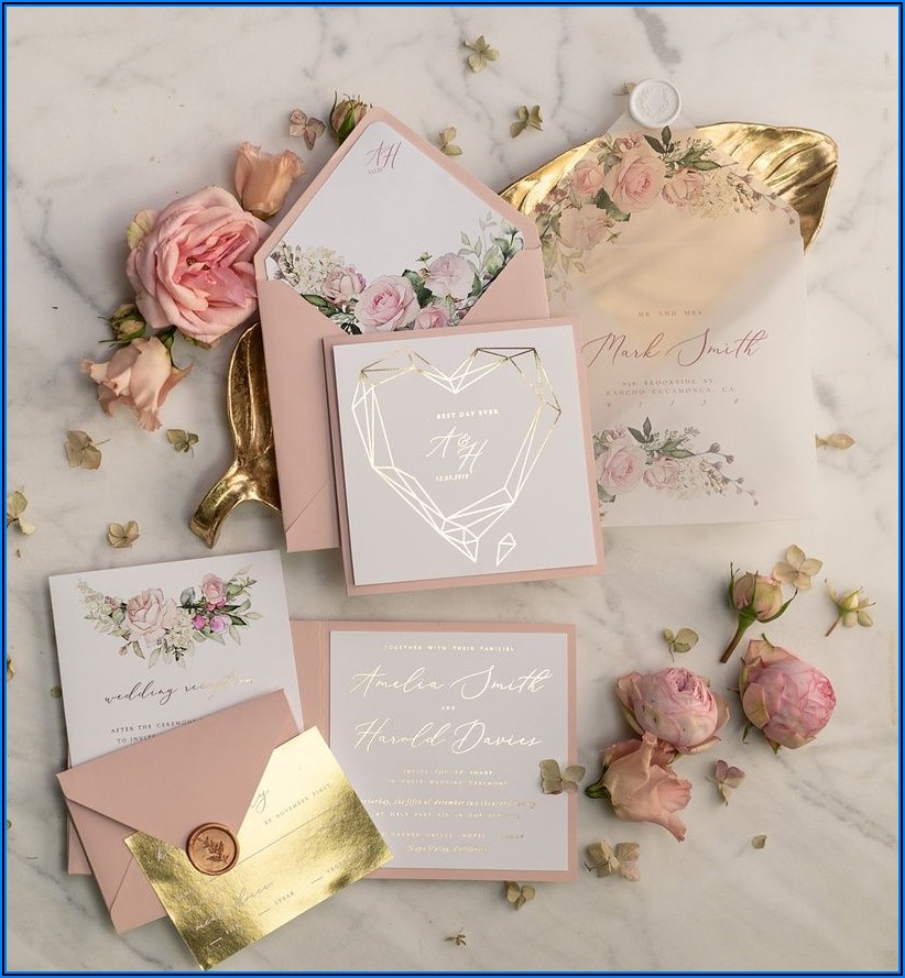 Rose Gold Wedding Invitations Uk