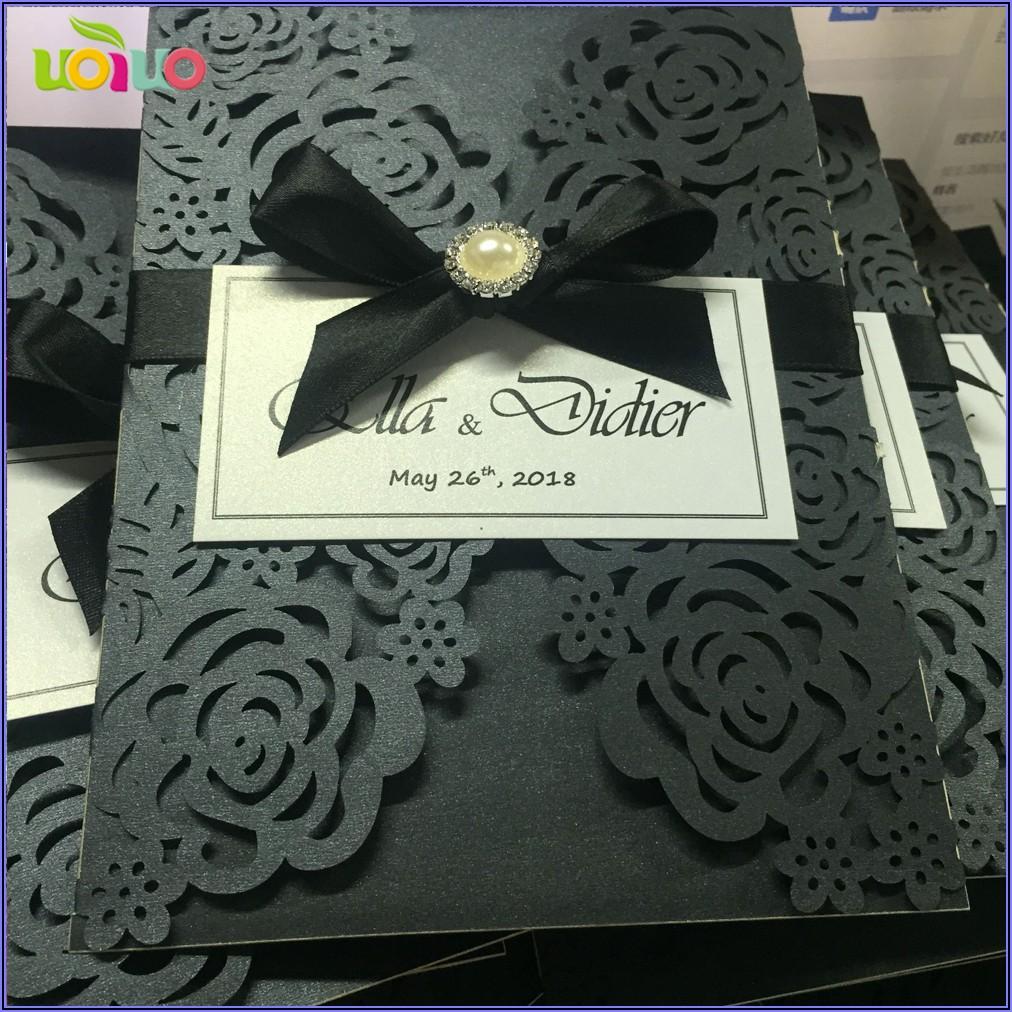 Royal Blue Lace Wedding Invitations