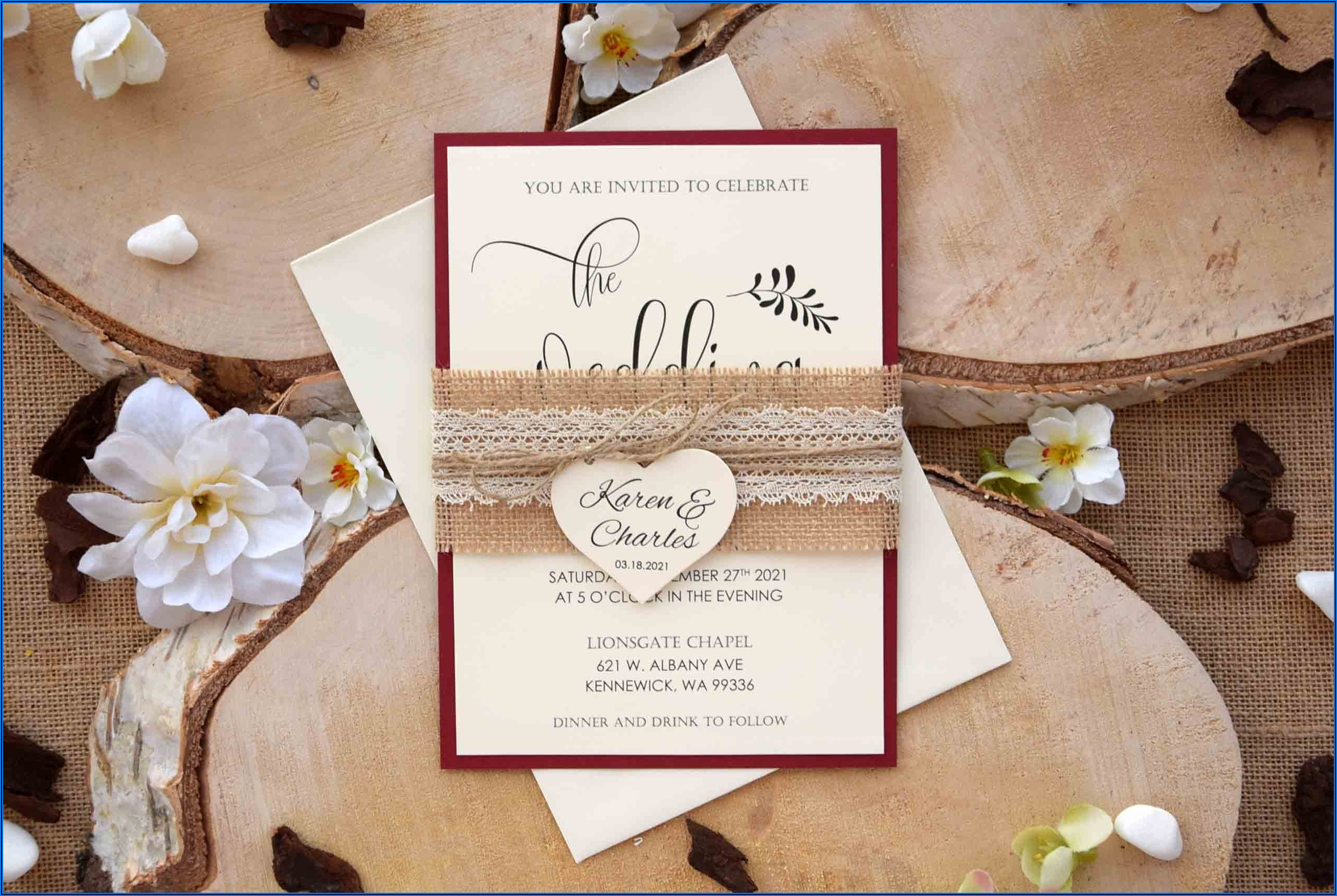 Rustic Burgundy Wedding Invitations