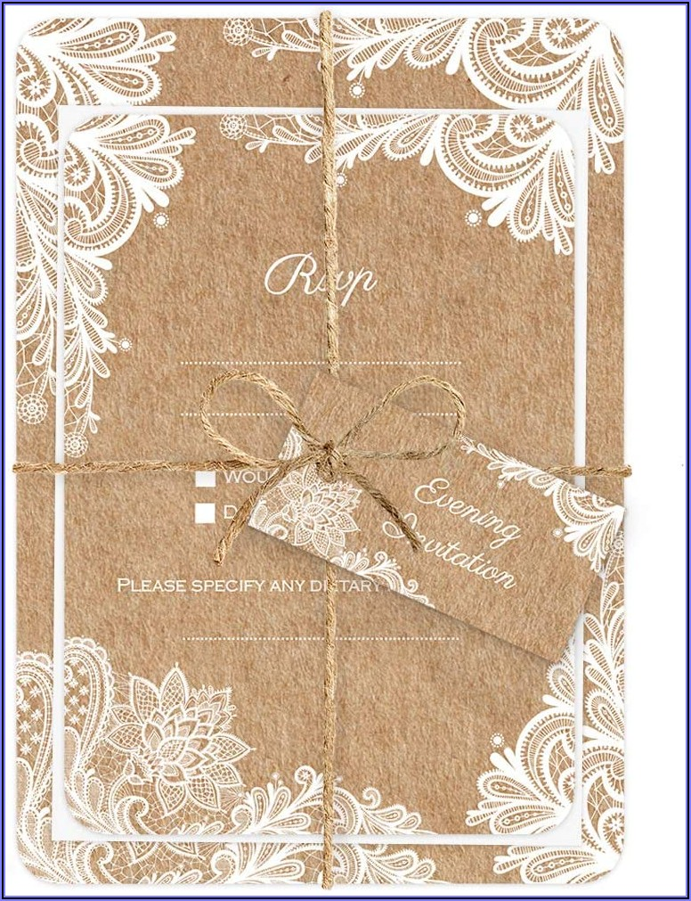 Rustic Lace Pattern Wedding Invitations