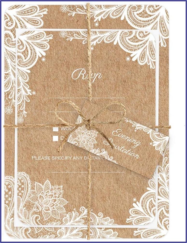 Rustic Lace Pattern Wedding Invitations
