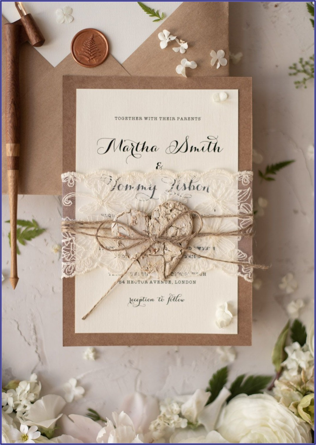 Rustic Lace Wedding Invitations Uk