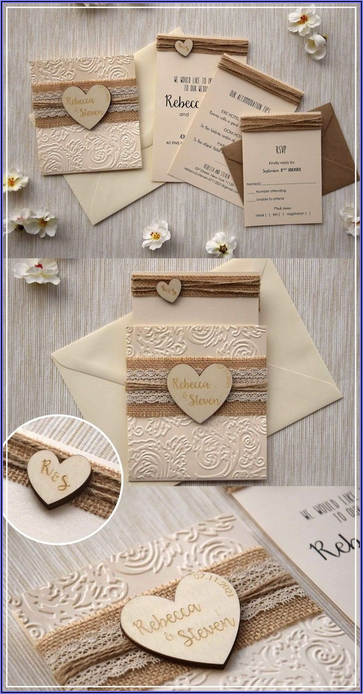 Rustic Wedding Invitations Lace Burlap