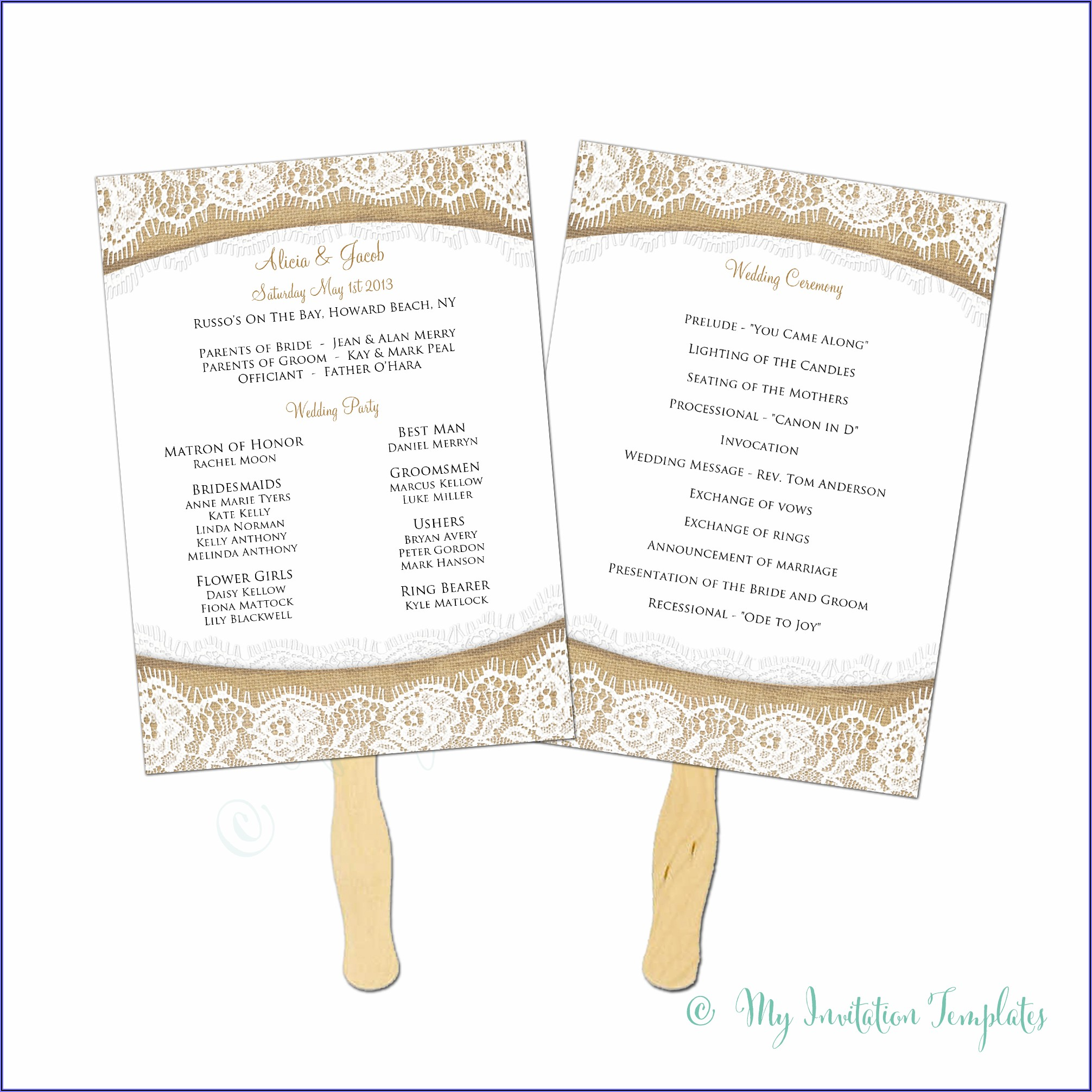Rustic Wedding Program Fan Template Free