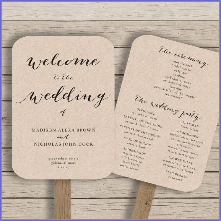 Rustic Wedding Program Fan Template