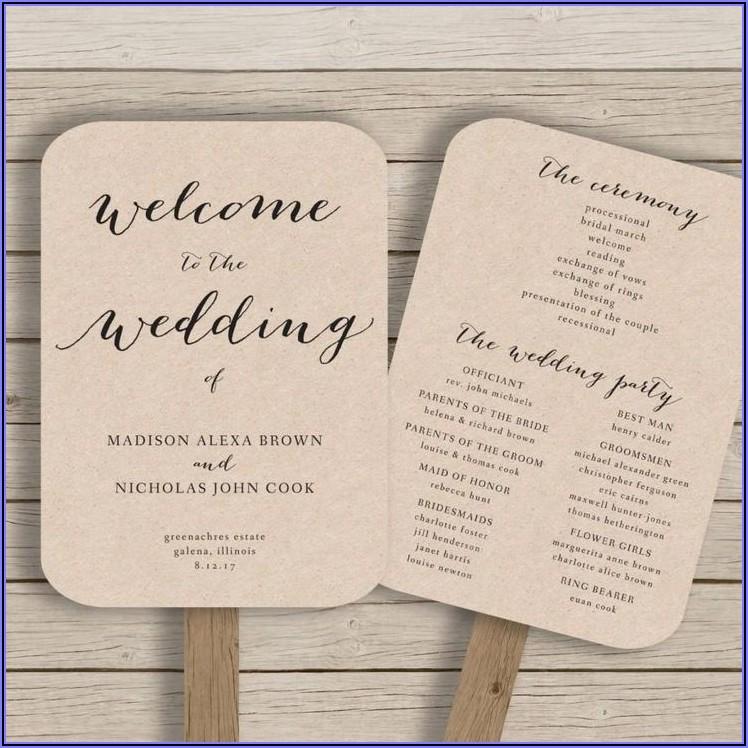 Rustic Wedding Program Fan Template