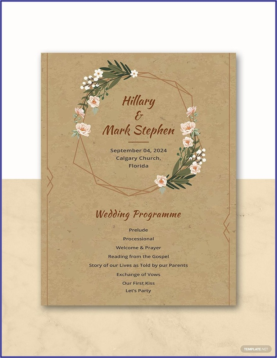 Rustic Wedding Program Template Free
